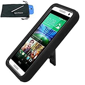 for HTC Desire 610 Heavy Duty Stand Cover Case Stylus Pen ApexGears (TM) Phone Bag. Black