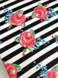 Watercolor roses black stripes crib sheet handmade in USA