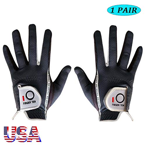 Amy Sport Golf Gloves Men Rain Grip Soft Value Pair Both Left Right Hand Lh Rh, Weathersof Durable Comfort Mens Glove Size Small Medium ML Large XL (Dark Gray, Medium) ()
