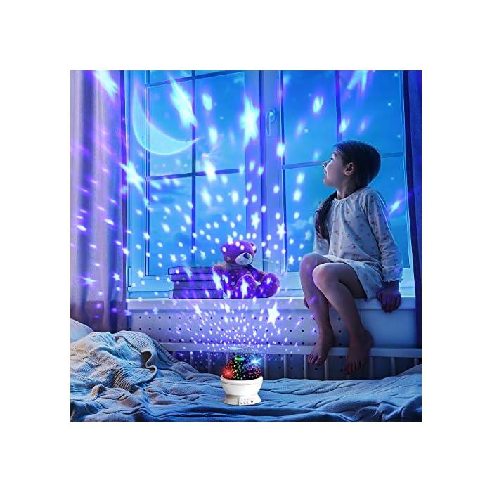 518u4ejuQWL 【Romántico y hermoso】 Este proyector para bebés puede ayudarlo a llevar el universo a su hogar. Te muestra el cielo estrellado en la pared o el techo de la habitación. Hay muchos modelos al respecto. Además, es rico en color. Rodeado de estrellas, crea un ambiente cálido y romántico. 【Diseñado para niños】 Con material ABS, sin olores desagradables, sin ruido, fuerte resistencia al impacto. Los chips LED regulables IC de alta calidad se pueden utilizar durante más de un año. Ahorran energía, tienen una vida útil prolongada y generan luz saludable y sin radiación. 【Luces de ensueño】 Hay diferentes modos de iluminación. Modo A: modo de luz nocturna cálida. Modo B: alternancia de luces de colores (blanco cálido / azul / verde / rojo). Modo C: las luces de estrella se pueden girar 360 °. Simplemente cambie entre modos para disfrutar del hermoso cielo estrellado y brindarle una experiencia fantástica.