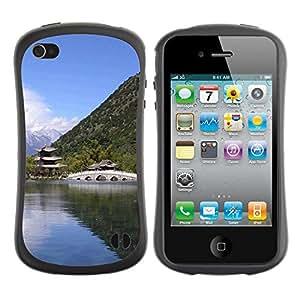Pulsar iFace Series Tpu silicona Carcasa Funda Case para Apple iPhone 4 / iPhone 4S , Nature Asian Temple