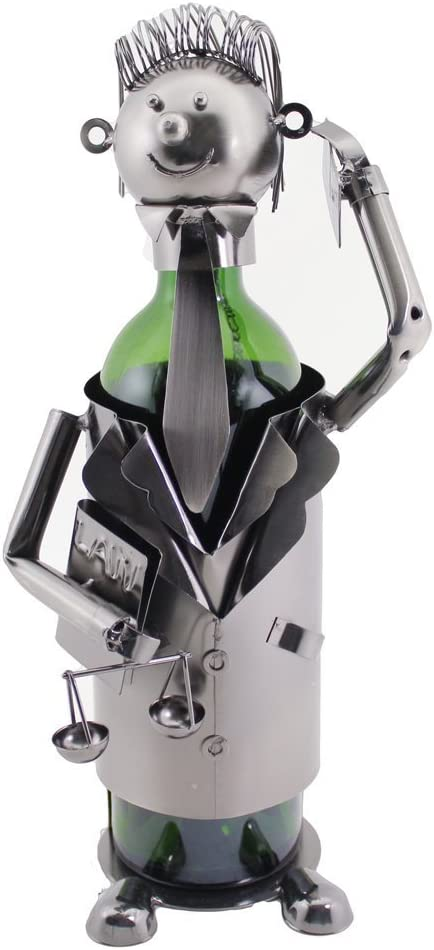 WINE BODIES ZA419 Groomed Court Lawyer Metal Wine Bottle Holder Character Charcoal