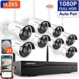 [Better than H.264]Security Camera System Wireless,SMONET 8CH 1080P H.265 Wireless CCTV Camera System with 8pcs 2.0MP HD Security Cameras and 2TB Hard Drive, P2P WiFi Security Camera System, Free APP