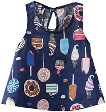 1822d9599d0 Winwinus Big Girls Floral Casual Comfort Cute Organic Cotton Vest Dresses