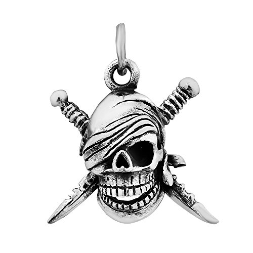 3d Aeravida Tête 925 Mort nbsp;pendentif Pirate Argent Lames Sterling De Cimeterre adHdzrqf