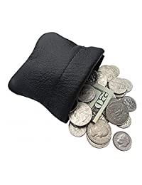 Classic Leather Squeeze Coin Purse change Holder For Men/Woman