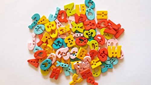 Alphabet Buttons (50 pcs Assorted A B C Letter alphabet buttons 2 holes mix color)