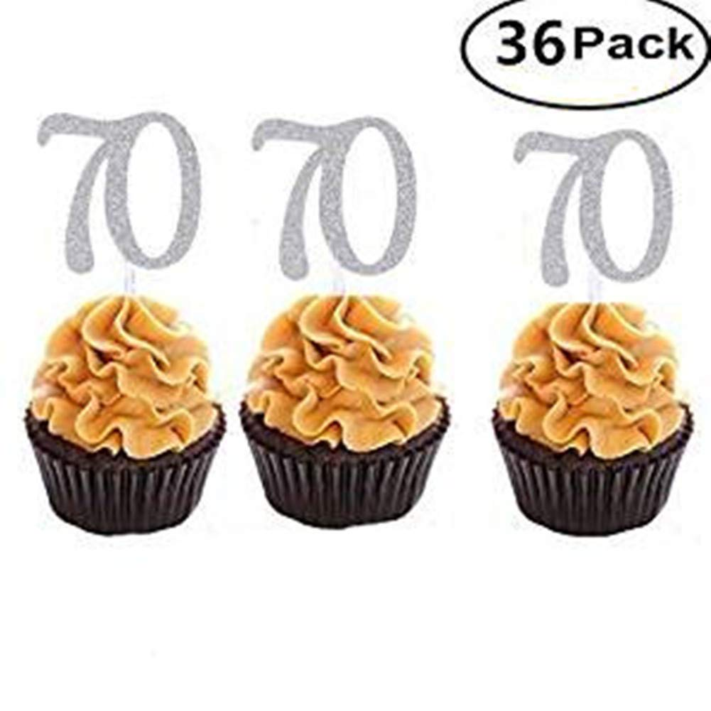 Set of 36 Silver Number 70 Cupcake Toppers 70th Birthday Celebrating Party Decors