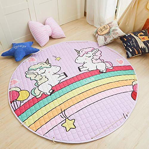 Kids Play Mat/Rugs and Toys Organizer Storage with Drawstring, Foldable Soft Anti-Slip and Washable, Round 59 inches Large Diameter #3223 (Rainbow Unicorn)