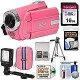 Vivitar DVR 508 NHD Digital Video Camera Camcorder (Bubble Gum Pink) with 16GB Card + Case + LED Video Light + Tripod + Kit