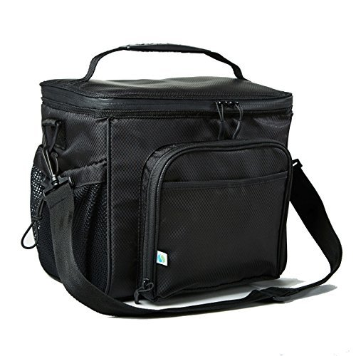 Leak Proof Peva Lining - Fit & Fresh Insulated Large Soft Cooler Lunch Bag, 18 Can Capacity - Adjustable Shoulder Strap, Zipper Closure, Leakproof Lining (Black)