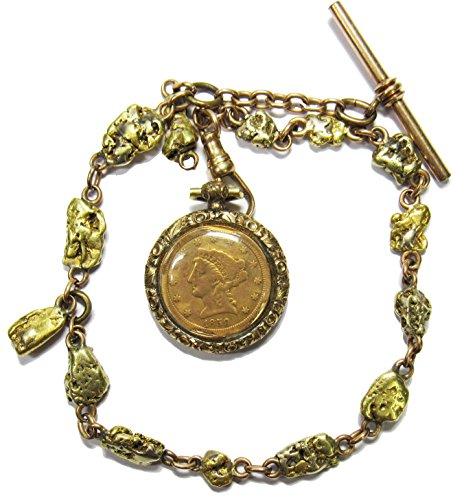 (Liberty Head In Gold Bezel w/Gold Nugget Chain)