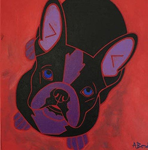 Bull Tile - Loving Frenchie Tile Coaster, Dog Art French Bulldog Decor by Angela Bond