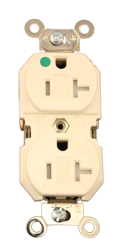 Leviton 8300-SGT 20 Amp, 125 Volt, Extra Heavy Duty Hospital Grade, Duplex Receptacle, Tamper Resistant, Straight Blade, Self Grounding, Light Almond