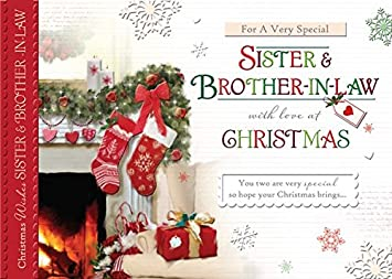 words n wishes sister brother in law christmas card fireplace