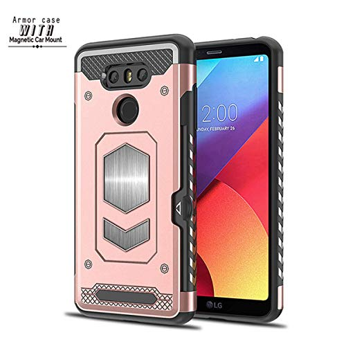 Case for LG G6 G7, Magnetic Dual Layer Military Armor Series Car Mount Card Holder Phone Case for LG G7 ThinQ (Rose Gold, LG G6) -