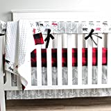 Lumberjack Gray Moose Bear Woodland 3 PC Crib Baby Bedding Set Rail Cover, Crib Skirt, Sheet