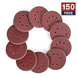 WORKPRO 150-piece Sandpaper Set - 5 Inch 8 Holes Sanding Discs 10 Different Grades Including 60, 80, 100, 120, 150, 180, 240, 320, 400, 600 Grits for Random Orbital Sander