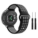 Garmin Forerunner 235 Watch Band, Moko Soft Silicone Replacement Watch Band for Garmin Forerunner 235/220/230/620/630/735XT, Approach S20/S5/S6 Smart Watch, Black + Gray