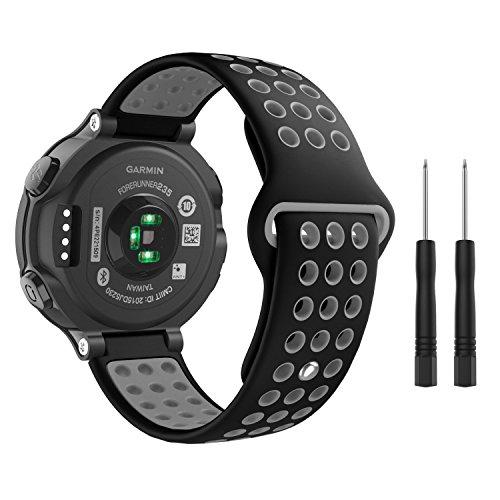 Garmin Forerunner 235 Watch Band, MoKo Soft Silicone Replacement Watch Band for Garmin Forerunner 235/220 / 230/620 / 630 / 735XT, Approach S20 / S5 / S6 Smart Watch, Black + Gray