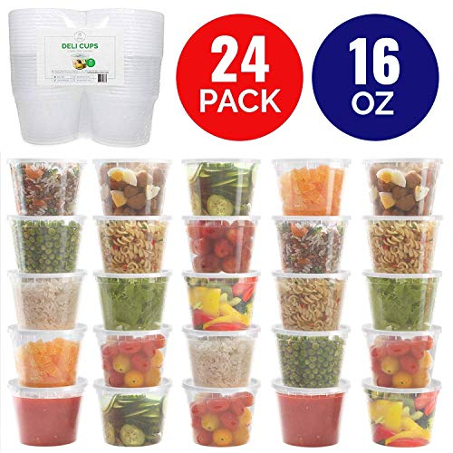 a Thick Food Storage Containers with Lids (16oz - 24 Pack) - Great for Slime - Deli Pint Cups - Soup Containers | Microwave, Dishwasher and Freezer Safe ()