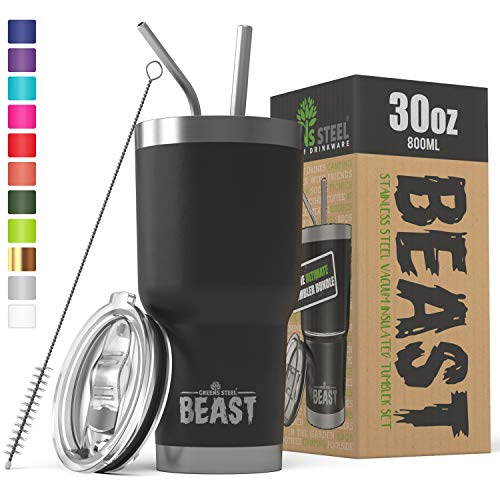 BEAST 30 oz Black Tumbler - Stainless Steel Vacuum Insulated Rambler Coffee Cup Double Wall Travel Flask (30 oz, Matte Black)