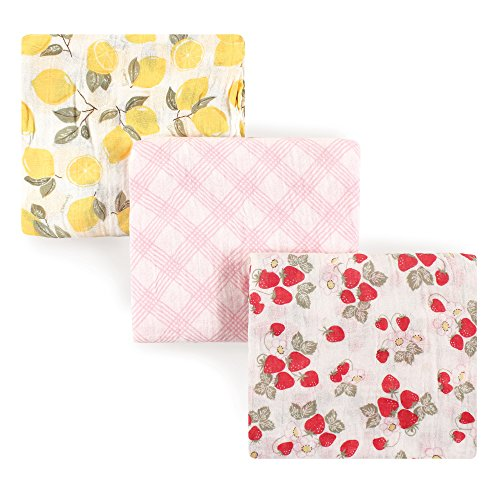 Hudson Baby Muslin Swaddle Blankets, 3 Pack, Lemons and Strawberries