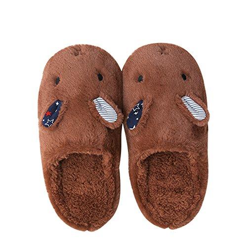 CWAIXXZZ pantofole morbide Autunno Inverno uomini e donne matura Home Home pantofole di cotone felpato indoor morbida antiscivolo serie L (per 39~41), marrone