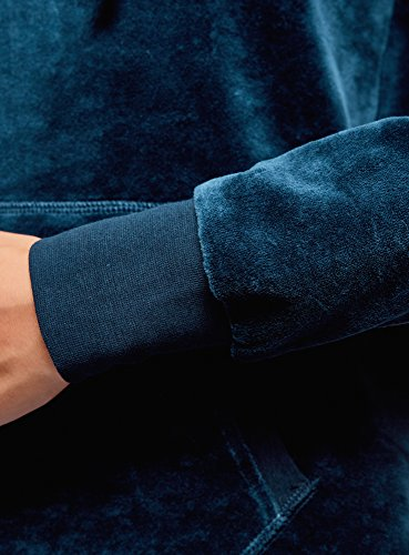 oodji Ultra Mujer Sudadera Básica con Capucha y Bolsillo Azul (7900N)