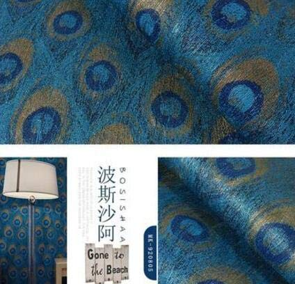 HNZZN Estilo del sudeste asiático chino tapiz de plumas de pavo real Hotel Temático Dormitorio Salón TV, papel de pared de fondo de color caqui Oscuro, ...