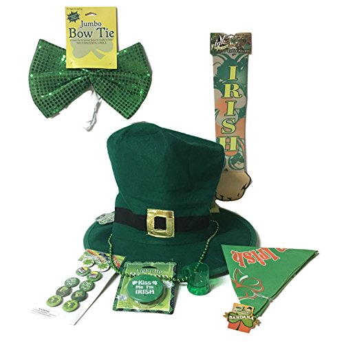 St. Patrick's Day Dress Up Costume Bundle: 7 Items- Headwear, Necklaces, Buttons And More (Leprechaun Outfits)