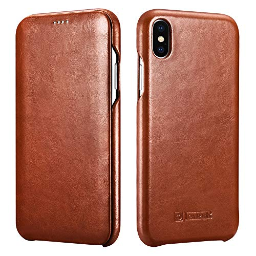 ICARER iPhone Xs MAX Leather Case,Genuine Vintage Leather Flip Folio Opening Cover in Curved Edge Design, Slim Thin Side Open Case for iPhone Xs MAX 6.5 Inch (Brown)