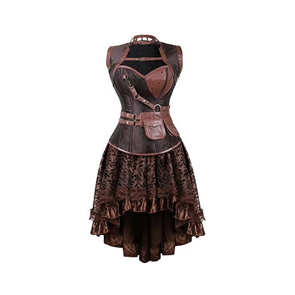 frawirshau Women's Steampunk Costume Corset Dress Halloween Costumes Steam Punk Gothic Corset Skirt Set 3