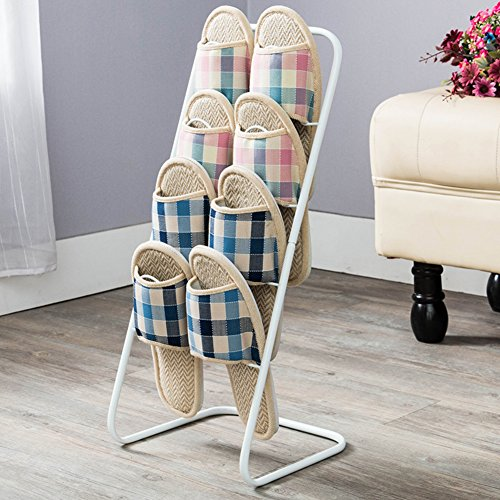 Continental Iron - MCUWEHGFET Continental Shoe Rack Iron Multi-Tier Shoe Rack dust-Proof Removable Shoe Holder Simple Slippers Rack Slippers Holder-A
