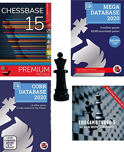 ChessBase 15 2020 Premium Package, Includes ChessBase 15 Chess Database Management Software Program Bundled With Mega Database 2020, Endgame Turbo 5, Corr 202 and ChessCentral's Chess King Flash Drive