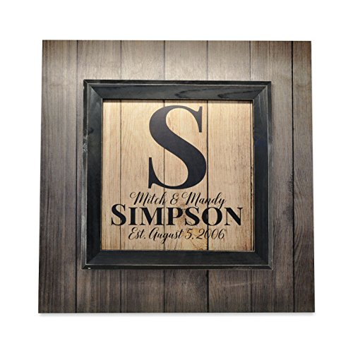 Personalized Framed Antique Wood Style Family Name Sign