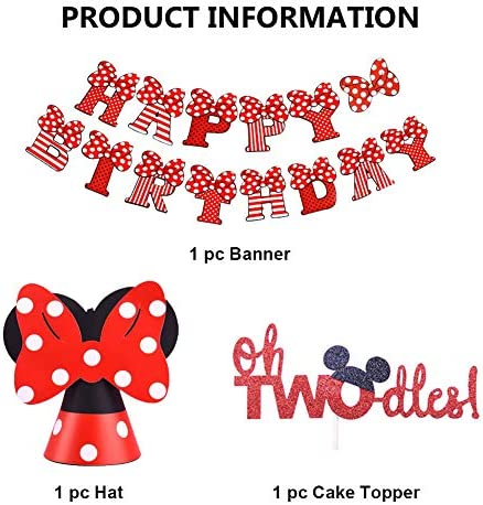 Oh Twodles Birthday Party Supplies, Mickey Minnie Themed 2nd Birthday Decorations with OH TWODLES Cake Topper Happy Birthday Banner Mickey Minnie Birthday Hat for Second Girl Boy Bday Party (Red)