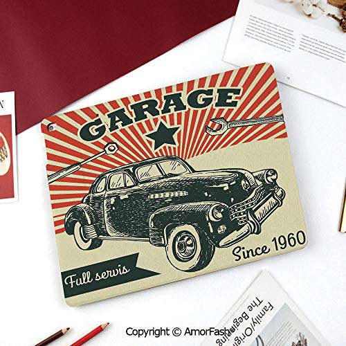 Cars Nice Cute Flip Stand Case PU Leather Folio Cover for Samsung Galaxy Tab A 8 Inch 2015 Version,Retro Car and Garage Advertising Poster Style Picture with Grunge Effects 1960s Theme
