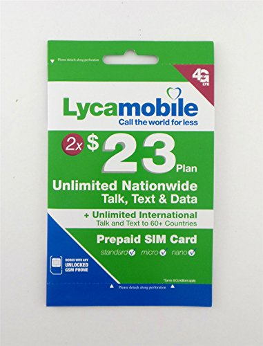 Lycamobile $23 Preloaded For Two Months Prepaid 3in1 Triple Punch Unlimited Talk, Data, Text U.S.