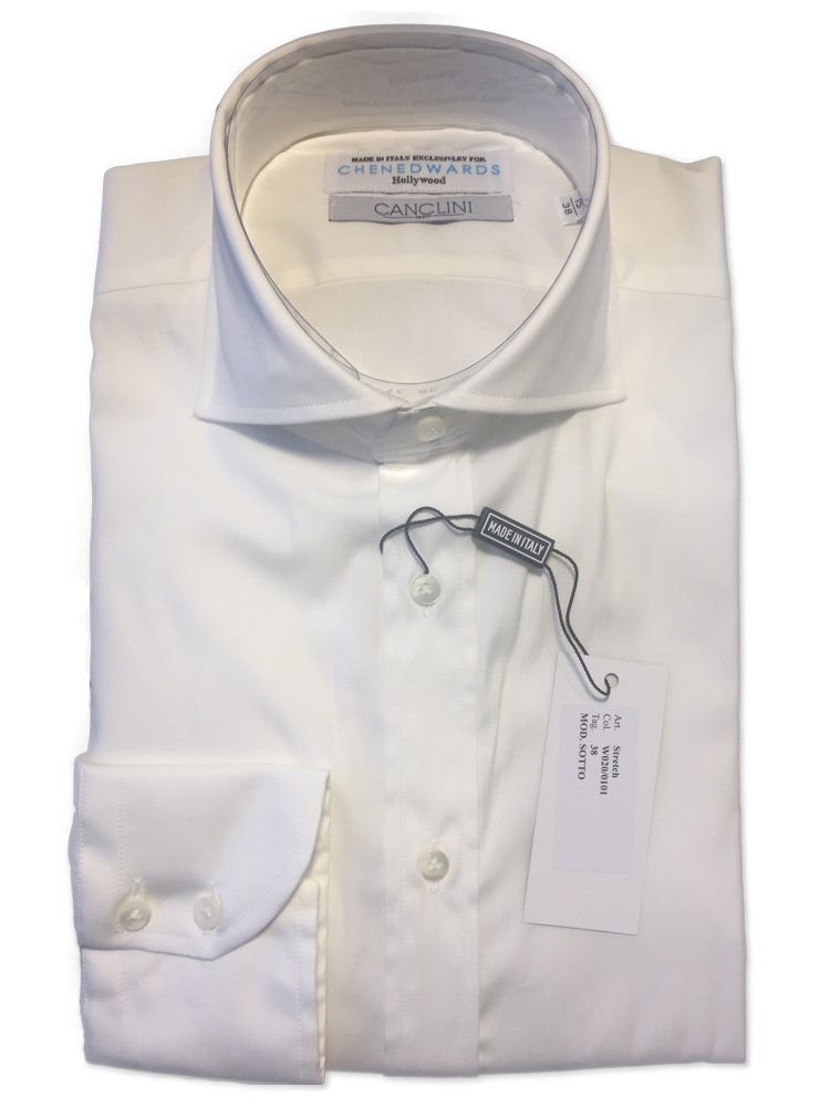Chen Edwards Men's Slim Fit Spread Collar Stretch Dress Shirt (16/41, White) by Chen Edwards