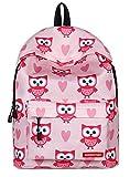 Lukis Girls School Backpack Lightweight Owl Pattern Backpack Casual Rucksack Daypack Tablet Bags -Pink