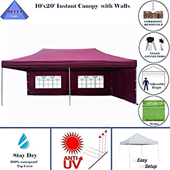 10x20 ez pop up canopy party tent instant gazebos 100 waterproof top with 6 removable sides maroon e model by delta canopies