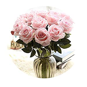 Miao Express 10pcs/Lots Floral Latex Real Touch Rose Artificial Flowers Silk Flowers Rose Wedding Bouquet Home Decor Party Flowers Bridesmaid 100