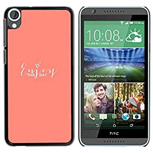 For HTC Desire 820 Case , Peach Text Love Heart Motivational - Diseño Patrón Teléfono Caso Cubierta Case Bumper Duro Protección Case Cover Funda