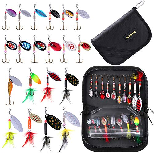 PLUSINNO Fishing Lures for Bass 20pcs Spinner Lures with Portable Carry Bag,Bass Lures Trout Lures Hard Metal Spinner Baits Kit (20pcs Spinner Set with Bag)