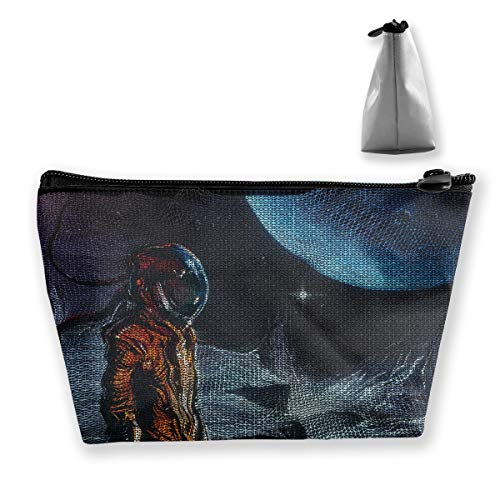 (Makeup Bag Cosmetic Astronaut Space Black Portable Cosmetic Bag Mobile Trapezoidal Storage Bag Travel Bags with)
