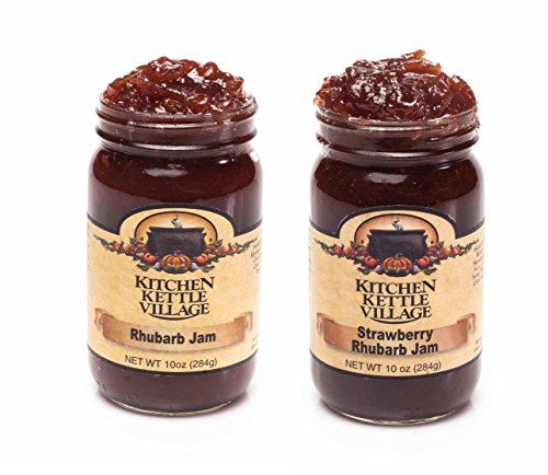 Rhubarb Jam & Strawberry Rhubarb Jam, Kitchen Kettle Village (Amish Made) Rhubarb Preserves, 10 Ounce Jars [1 of Each]