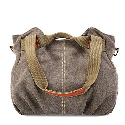 fanhappygo Damen Canvas Umhängetasche Messenger Bag Schultertasche Handtasche Henkeltasche Shopper Tasche Kaffee