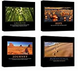 Motivational Inspirational Self Positive Office Canvas Stretched Wood Framed Combine Modern Astract Art For Home Room Hall Wall Print Decor 4Pcs x 12×12″ (30x30cm) (213-216)