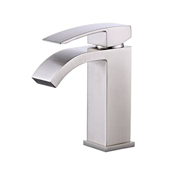 KES L3109A1LF 2 Single Handle Waterfall Bathroom Vanity Sink Faucet With  Extra Large Rectangular Spout